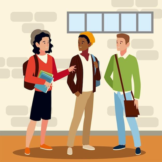 Caratteri di studenti maschi con zaini nell'illustrazione di immagine del corridoio