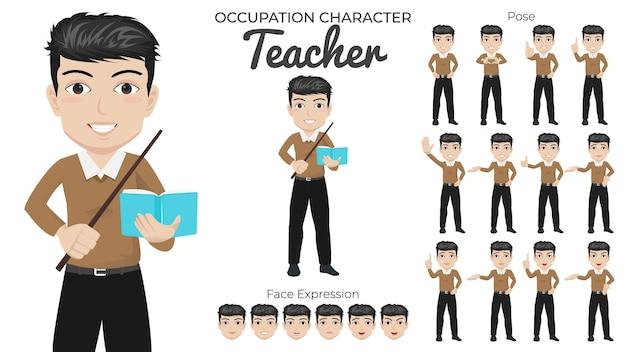 Set di caratteri dell'insegnante maschio con varietà di posa ed espressione del viso
