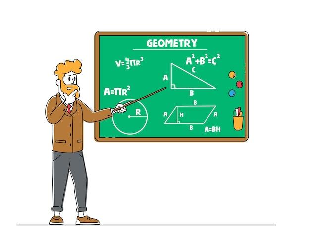 Personaggio insegnante maschio con puntatore spiega lezione di geometria