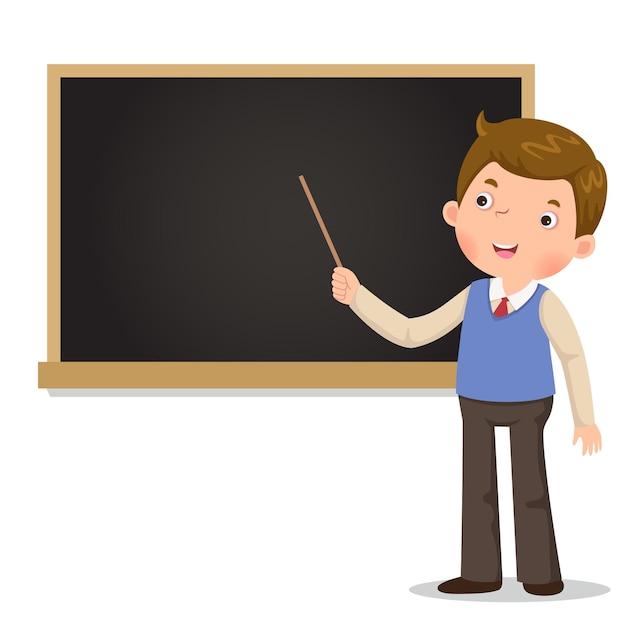 Insegnante maschio in piedi davanti alla lavagna con un puntatore