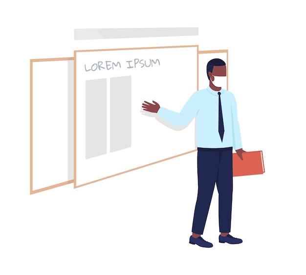 L'insegnante maschio si trova di fronte al personaggio vettoriale di colore semi piatto del bordo