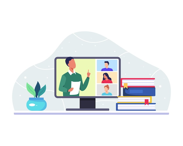 Insegnante maschio che insegna ai suoi studenti universitari tramite l'app di videochiamata sul computer. stile piatto