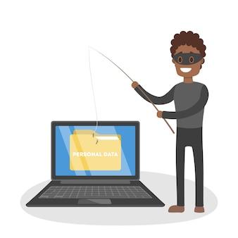 Un ladro maschio attacca il computer e ruba dati personali. concetto di sicurezza digitale. illustrazione