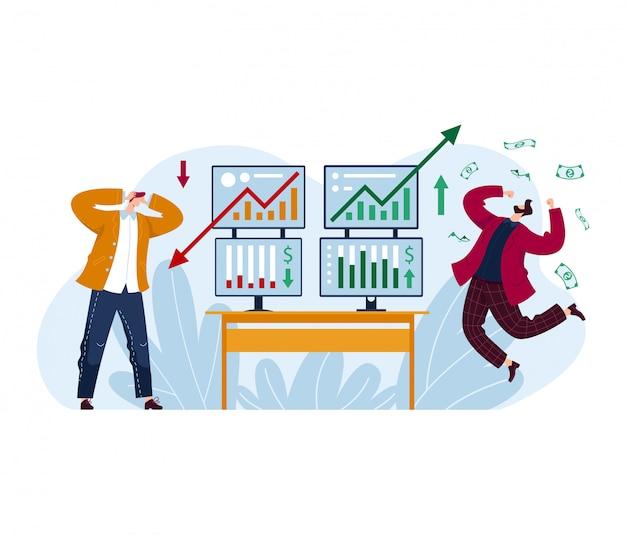 Il commerciante maschio perde la borsa valori del mercato azionario, soldi dell'investitore che guadagna l'uomo isolato su bianco, illustrazione del fumetto.