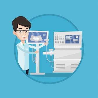 Illustrazione maschio di vettore di medico di ultrasuono.