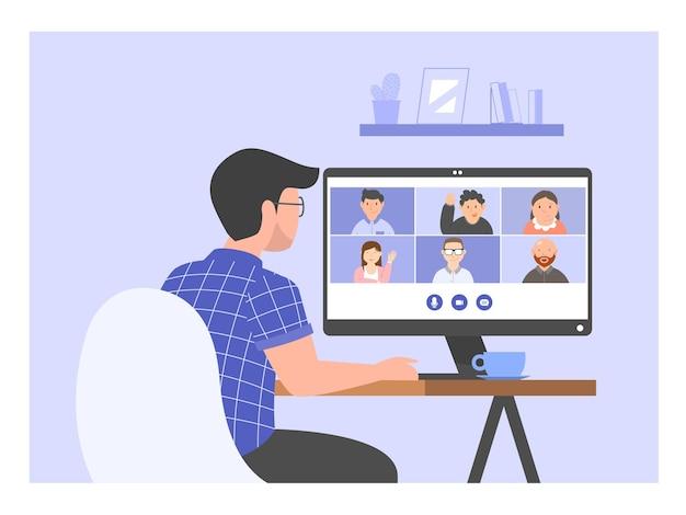 Videoconferenza maschile con amici o team, riunione online, lavoro da casa illustrazione