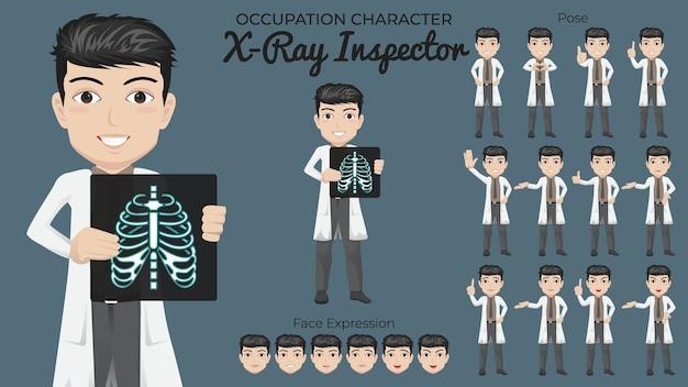 Set di caratteri maschio x ray con varietà di posa ed espressione del viso