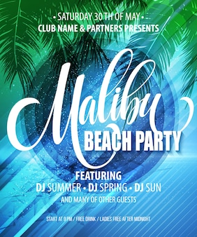 Poster di malibu beach party. sfondo tropicale.