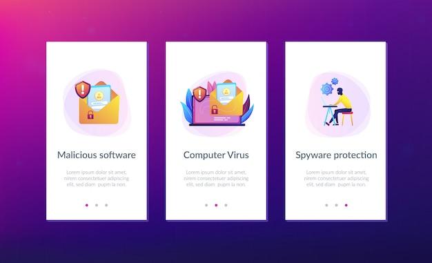 Modello di interfaccia app di virus informatico malware.