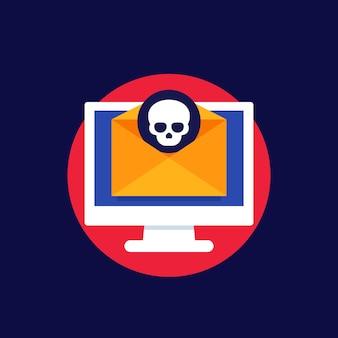 Malware, e-mail con icona di virus informatico