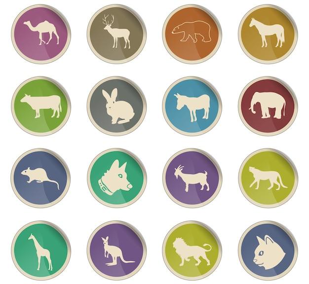Icone web di mammiferi sotto forma di etichette di carta rotonde