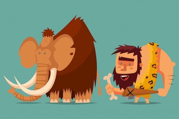 Mammut e uomo delle caverne con un'arma dell'età della pietra in mano