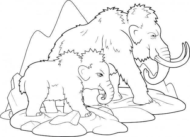 Famiglia mammut Vettore Premium