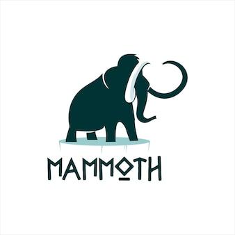 Disegni grafici dell'illustrazione piana della siluetta mammut