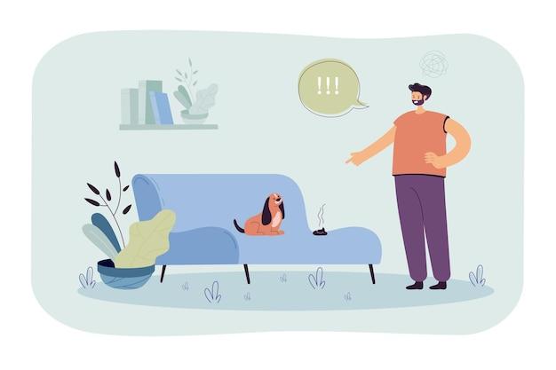 Uomo arrabbiato con il pasticcio fatto dal cane. personaggio maschile che indica con rabbia il cucciolo che ha fatto la cacca sul divano.
