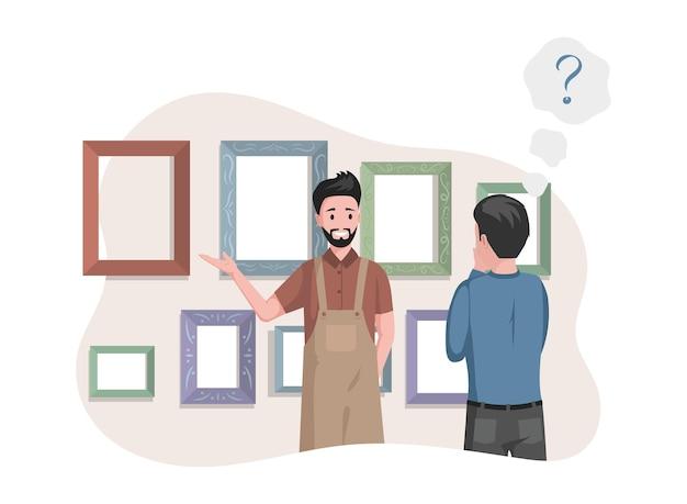 Uomo in grembiule che vende cornici per foto nell'illustrazione di studio d'arte
