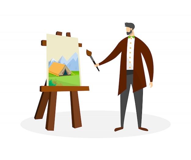 Uomo artista lavora con colori ad olio. processo di disegno.