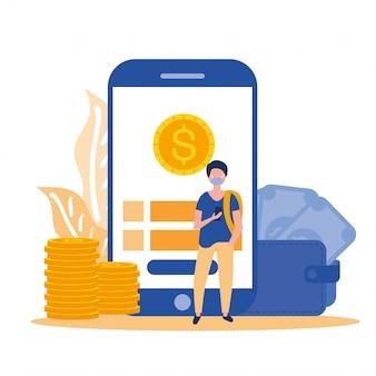Avatar uomo con smartphone maschera e moneta