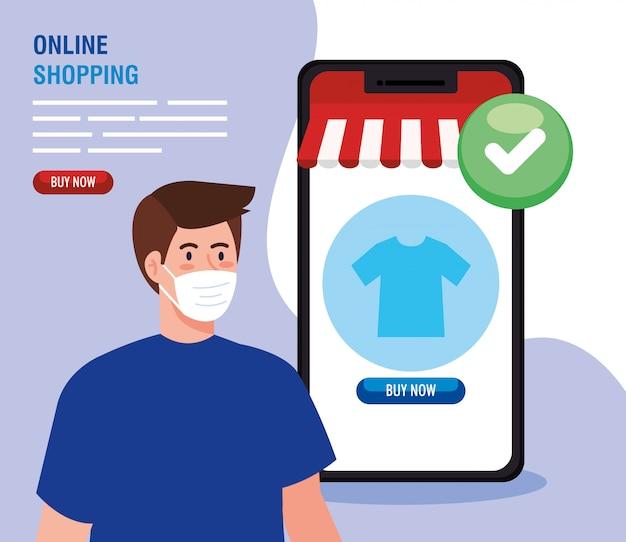 Avatar uomo con maschera e smartphone con il segno di spunta della vendita al dettaglio online del mercato del commercio elettronico e acquistare illustrazione del tema
