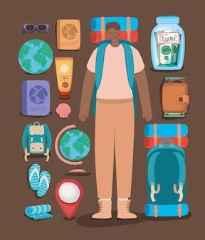 Uomo zaino in spalla ed elementi di viaggio
