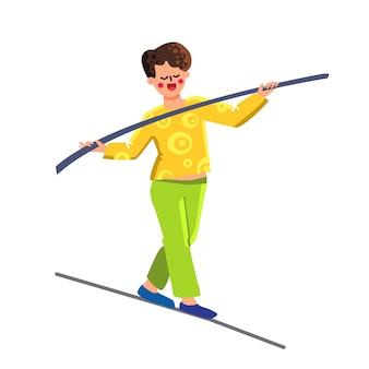 Equilibrio uomo bastone in bilanciamento sul tightrope