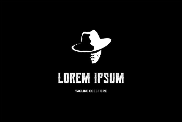 Uomo bandit mafia cowboy head silhouette logo design vector