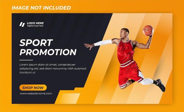 Banner di pallacanestro dell'uomo o modello premium di design banner sportivo rosso vector