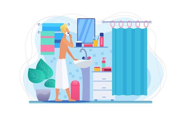 Uomo in bagno, routine mattutina per la cura della pelle del viso, concetto di igiene personale