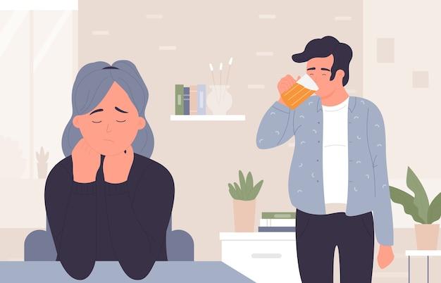 Uomo nella dipendenza da birra, moglie donna triste stressata dall'alcolismo domestico del marito