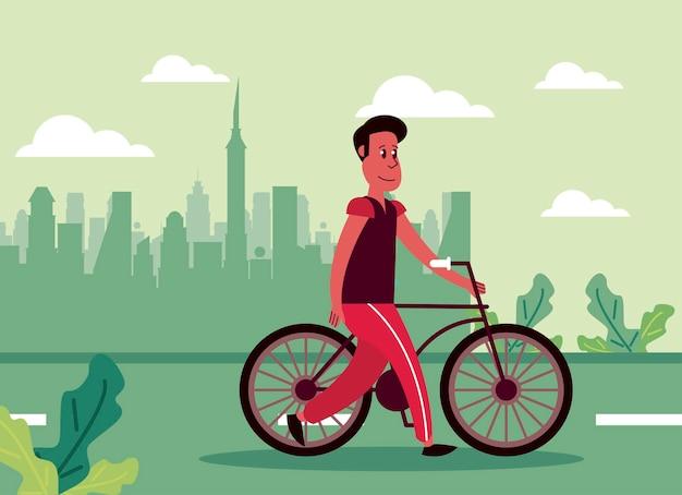 Uomo in scena in bicicletta