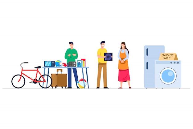 Articolo di seconda mano offerta uomo al mercato di vendita di garage