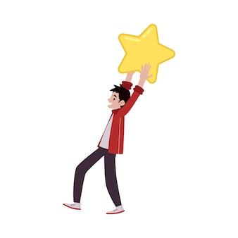 Uomo grande concetto di recensione del cliente stella