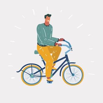 Uomo in bicicletta isolato sfondo