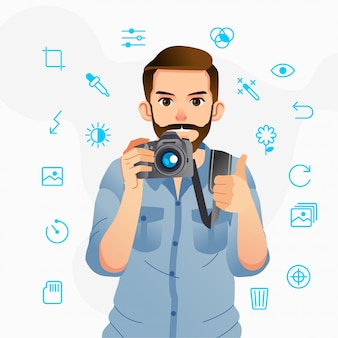 L'uomo porta una macchina fotografica e il pollice in alto con varie icone line art intorno a lui