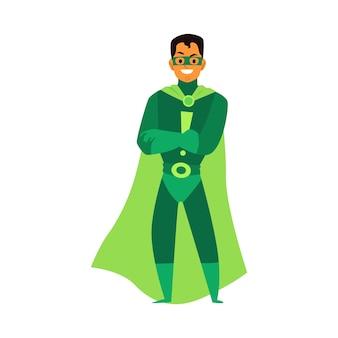 Uomo brunet asiatico o latino supereroe in piedi in un costume verde, una maschera e un mantello