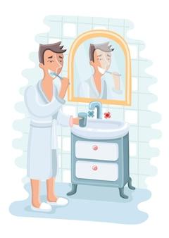 Illustrazione dell'uomo che pulisce i denti