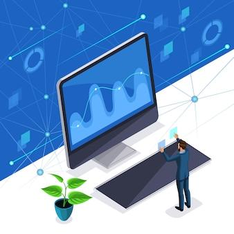 Un uomo, un uomo d'affari gestisce uno schermo virtuale, un pannello al plasma, un uomo alla moda usa la tecnologia high-tech