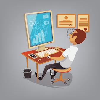 Uomo occupato a lavorare con il computer in ufficio