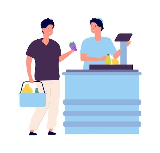 L'uomo compra cibo. cassa di mercato, cassiere e acquirente. scena piatta del negozio di alimentari. caratteri vettoriali isolati del lavoratore del negozio e del cliente. checkout del mercato, cliente al bancone con illustrazione del cestino