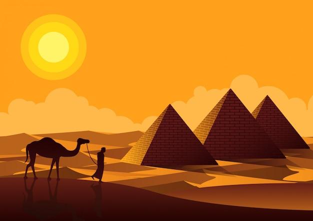 L'uomo e il cammello che camminano passano il punto di riferimento delle piramidi dell'egitto