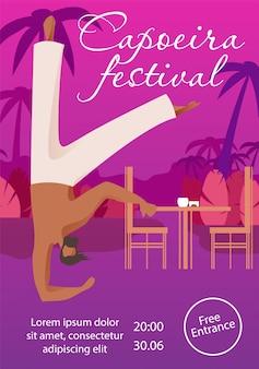 Uomo al capoeira festival in bar. invito alla festa.