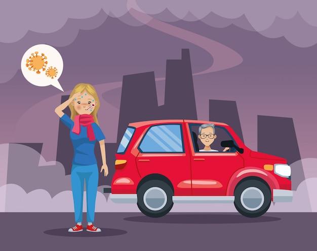 Uomo nell'inquinamento automobilistico e scena ammalata della ragazza
