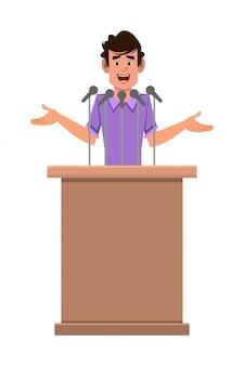 L'uomo speaker personaggio dei cartoni animati si trova dietro il podio e parla. personaggio dei cartoni animati in stile piatto per il tuo design, movimento o animazione