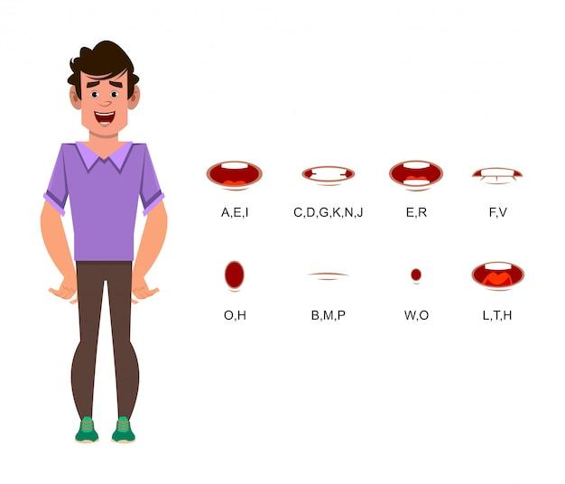 Personaggio dei cartoni animati di uomo con sincronizzazione labiale diversa per design, movimento o animazione