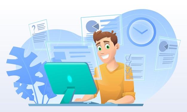 Un uomo in stile cartone animato al lavoro di un computer esegue molti compiti allo stesso tempo