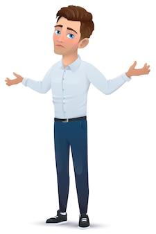 Uomo in stile cartone animato, isolato su sfondo bianco