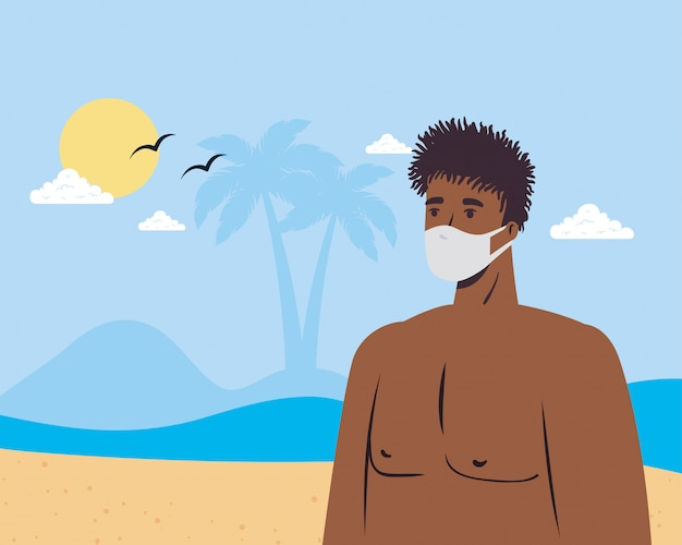 Equipaggi il fumetto con la mascherina medica al disegno di vettore della spiaggia