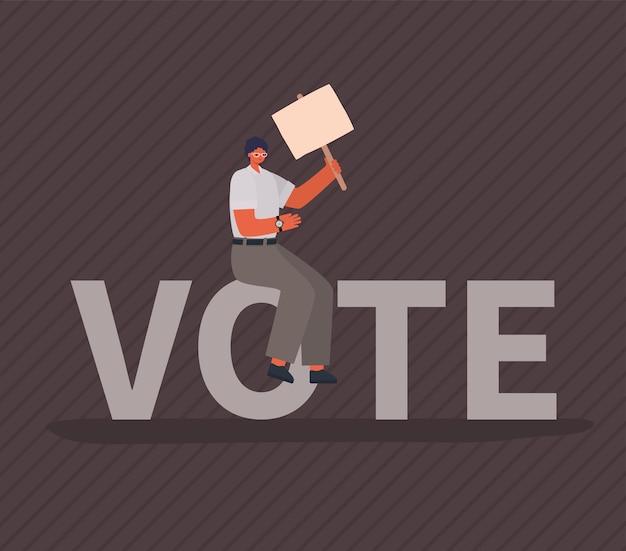 Fumetto dell'uomo con la scheda del cartello su sfondo grigio design, votare il giorno delle elezioni