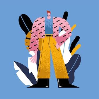 Fumetto dell'uomo con la giacca a strisce sul disegno del fondo delle foglie, ragazzo maschio persona persone social media umani e illustrazione a tema ritratto