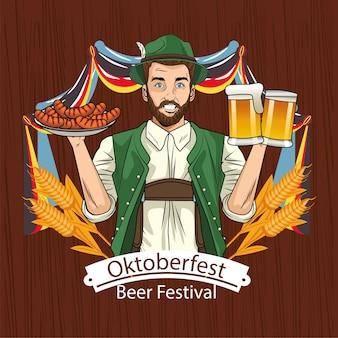 Fumetto dell'uomo con salsicce di stoffa tradizionali e design di bicchieri di birra, festival e celebrazione dell'oktoberfest in germania